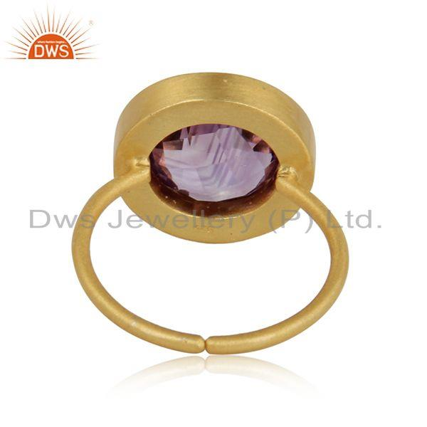 Exporter of Designer pink tourmaline, amethyst halo ring in yellow gold on silver