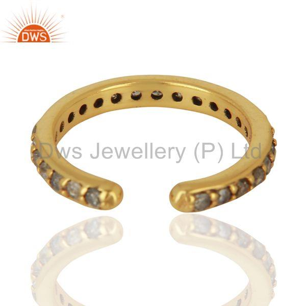 Wholesalers Gold Plated Pave Diamond 925 Silver Ring Finding Jewelry Supplier