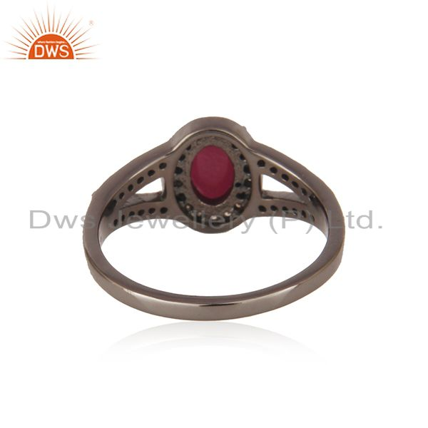 Exporter of Ruby gemstone diamond studded solitaire ring 925 sterling silver vintage jewelry