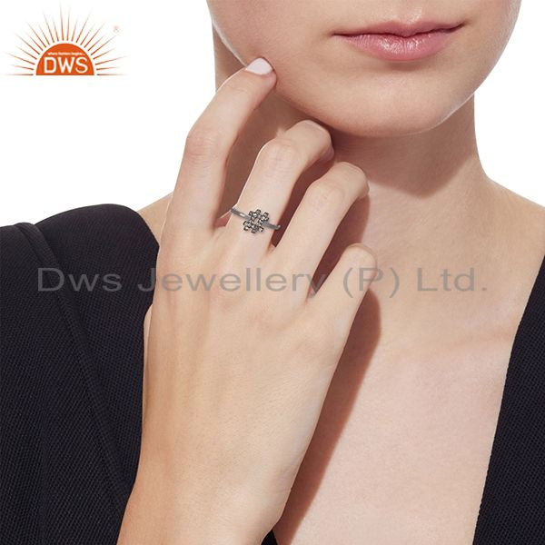 Exporter of .925 silver hash sign pave white diamond trendy mid ring auction gift for easter