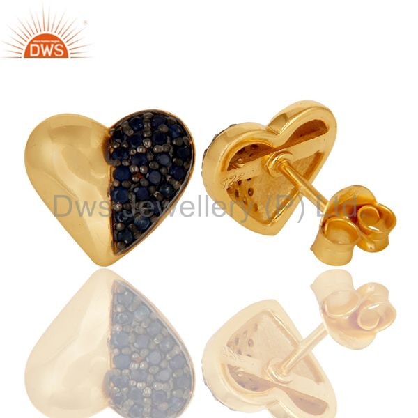 Wholesalers Blue Sapphire and 18K Gold Plated Sterling Silver Heart Shape Stud Earring