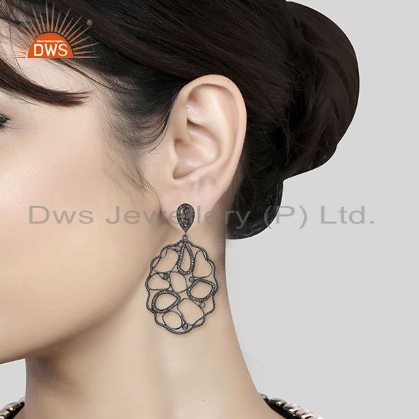 Wholesalers Designer Black Wire 92.5 Silver Pave Diamond Custom Earrings Wholesale