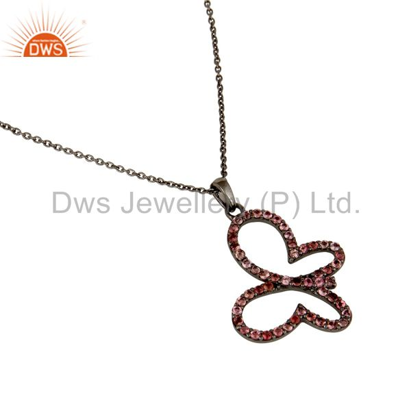 Wholesalers Black Oxidized Sterling Silver Pink Tourmaline Butterfly Chain Pendant Necklace