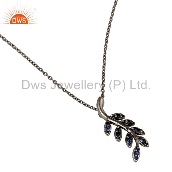 Wholesalers Black Oxidized With Blue Sapphire Leaf Design Sterling Silver Pendant Necklace