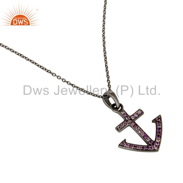 Wholesalers Black Oxidized With Amethyst Christmas Design Sterling Silver Pendant Necklace