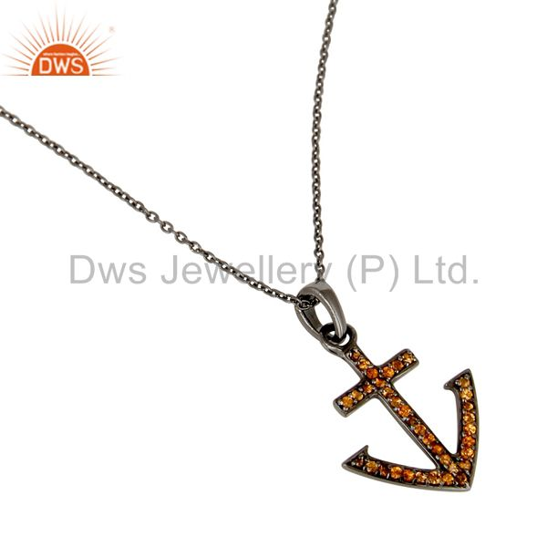 Wholesalers Oxidized With Spessartite Christmas Design Sterling Silver Pendant Necklace