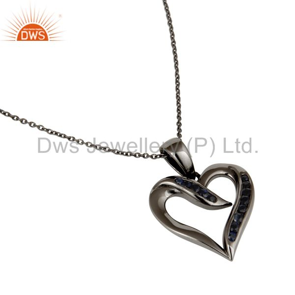Wholesalers Heart Design Sterling Silver Pendant Necklace With Oxidized and Blue Sapphire