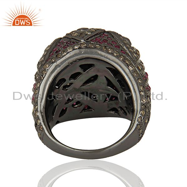 Wholesalers 925 Silver Pave Diamond Ruby Gemstone Antique Ring Manufacturer