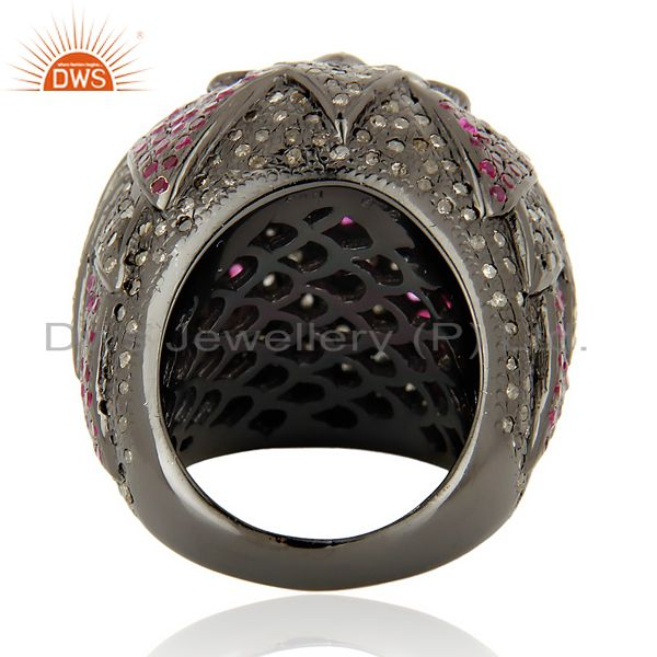 Wholesalers Designer Vintage Style Rose Cut Diamond Party Wear Ring Ruby 18K Gold Jewelry