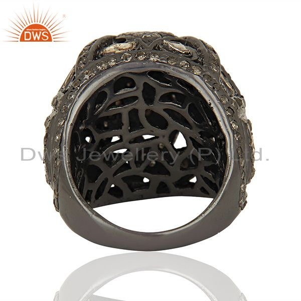Wholesalers Black Rhodium Plated Silver Pave Diamond Ring Manufacturer Jewelry