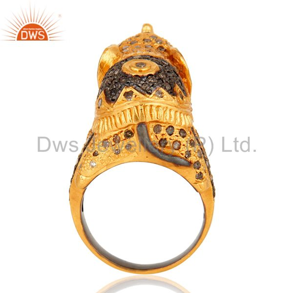Wholesalers 925 Sterling Silver Pave Set Diamond Elephant Design Ring - Gold Plated