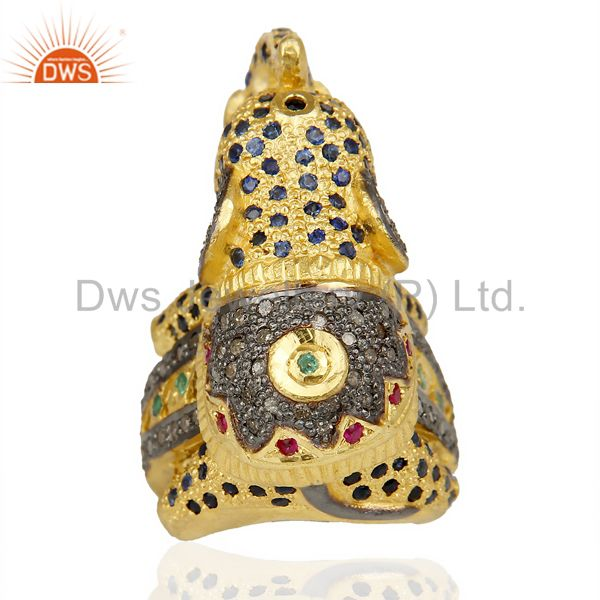 Wholesalers 18K Gold Over Silver Emerald, Ruby And Sapphire Pave Diamond Elephant Ring