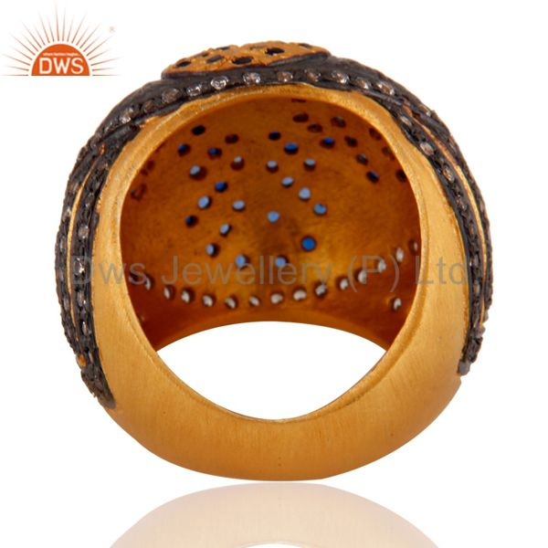Wholesalers 18k Yellow Gold Plated Paveset Cubic Zirconia Designer Fashion Dome Ring Jewelry