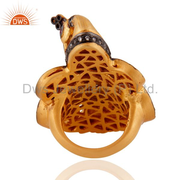 Wholesalers 18k Yellow Gold Plated 925 Sterling Silver Simulated Diamond Peacock Design Ring