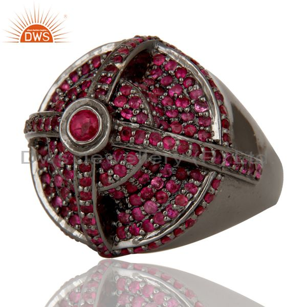 Wholesalers Victorian Estate Style Pave Set Natural Ruby Gemstone Silver Dome Ring