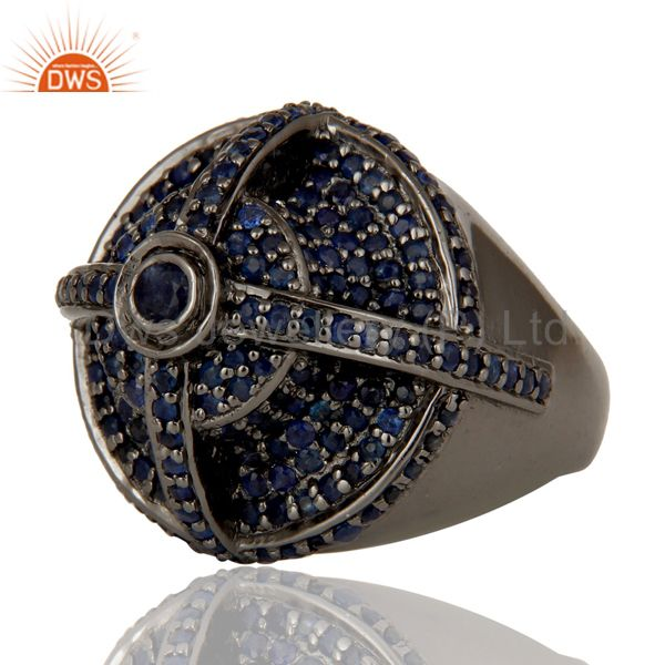 Wholesalers Victorian Estate Style Pave Set Natural Blue Sapphire Gemstone Silver Dome Ring