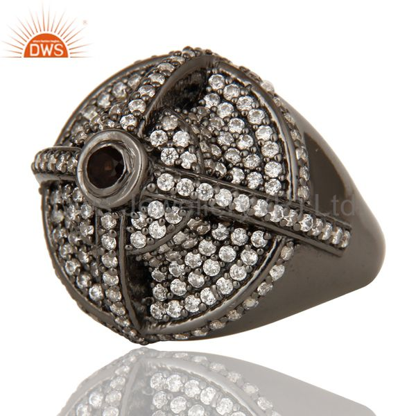 Wholesalers Victorian Estate Style Pave Set White CZ and Smokey Gemstone Silver Dome Ring