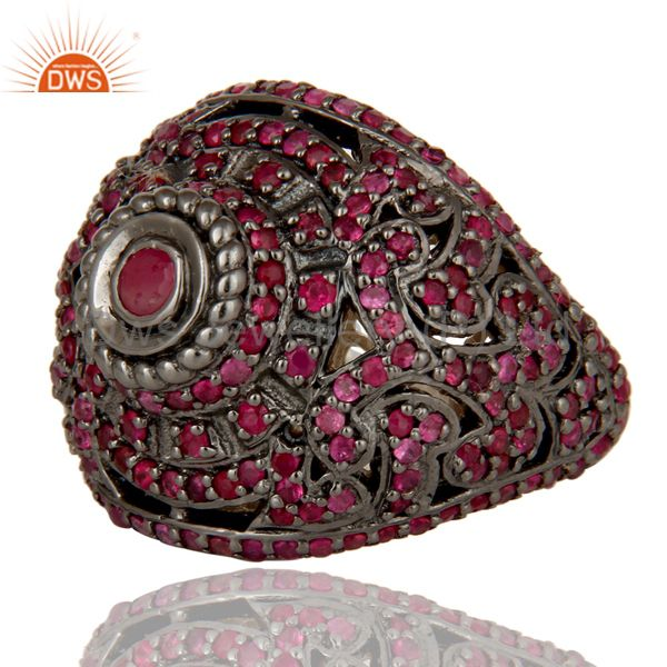 Wholesalers Pave Setting Ruby Birthstone Victorian Estate Style Gemstone Silver Ring