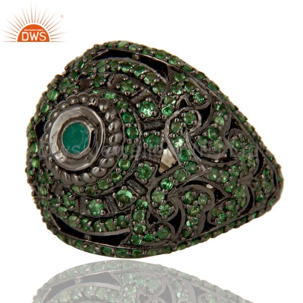 Wholesalers Pave Setting Tsavourite Emerald Victorian Estate Style Gemstone Silver Ring