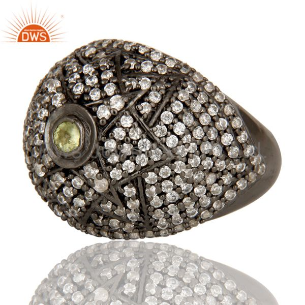 Wholesalers Victorian Estate Style Pave Set Peridot and White CZ Gemstone 925 Silver Ring