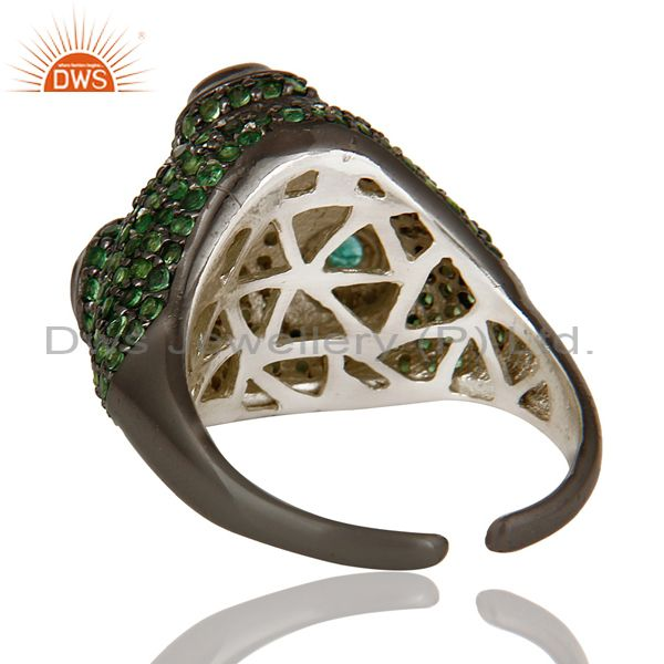 Wholesalers Pave Tsavourite and Emerald Victorian Estate Style Sterling Silver Ring