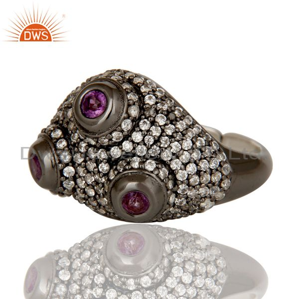 Wholesalers Amethyst and White Zircon Victorian Estate Style Sterling Silver Ring