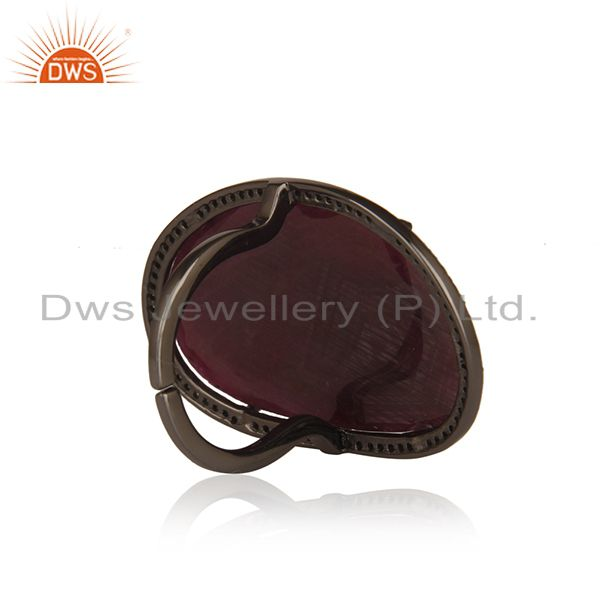 Wholesalers Natural Ruby and Pave Diamond Black Oxidized Sterling Silver Ring