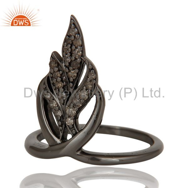 Wholesalers Oxidized Sterling Silver and Diamond Ring Beautiful Designer Jewelry