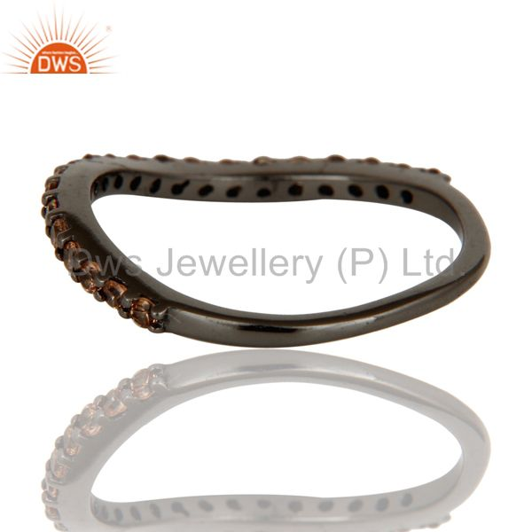Wholesalers Pave Spessartite Black Oxidized Sterling Silver Band Ring