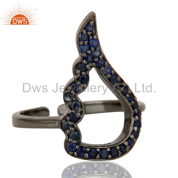 Wholesalers Blue Sapphire Black Oxidized Sterling Silver Midi Ring