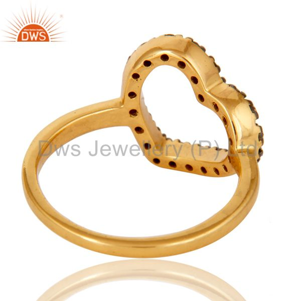 Wholesalers Stunning 18K Gold Plated 925 Sterling Silver Pave Diamond Heart Design Ring