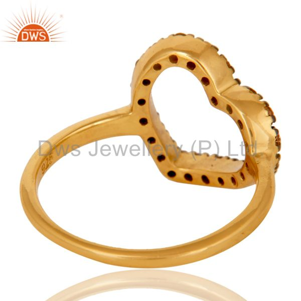 Wholesalers Spessartite 18K Gold Plated Sterling Silver Heart Shape Ring Love Ring