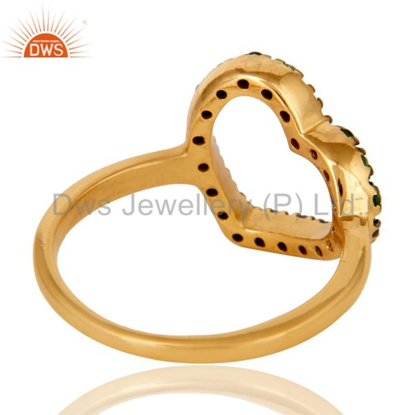 Wholesalers Tsavourite 18K Gold Plated Sterling Silver Heart Shape Ring Love Ring