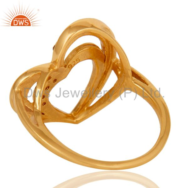 Wholesalers 18K Gold Plated 925 Sterling Silver Natural Garnet Heart Design Ring Jewelry