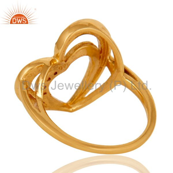 Wholesalers Spessartite 18K Gold Plated Heart Shape Sterling Silver Ring Love Jewelry
