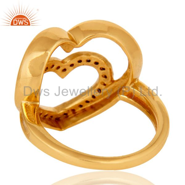 Wholesalers Heart Design 18K Gold Plated 925 Sterling Silver Pave Diamond Ring Jewelry