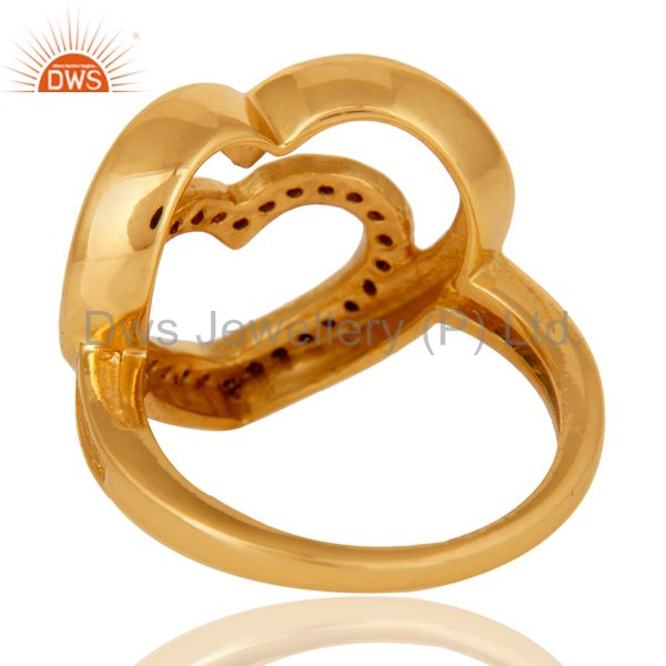 Wholesalers 18K Gold Plated Sterling Silver Green Tourmaline Heart Shape Ring Love Sign Ring