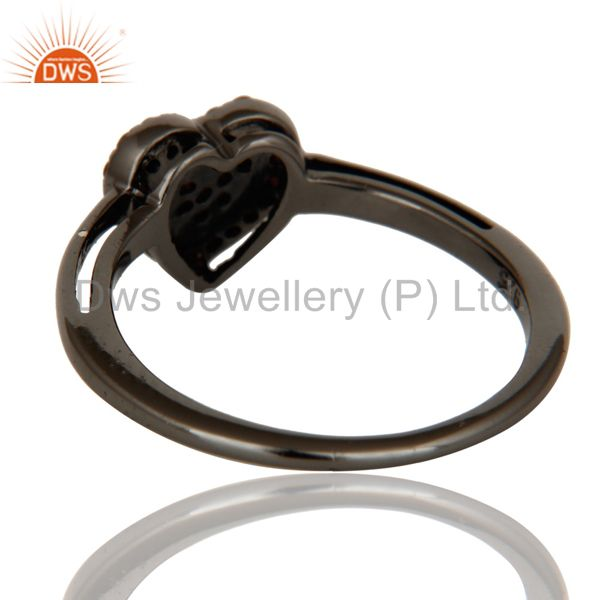 Wholesalers Spessartite Heart Shape Love Ring Black Oxidized Sterling Silver Ring
