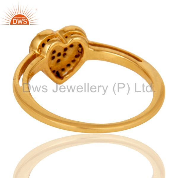 Wholesalers 18K Gold Plated 925 Sterling Silver Pink Tourmaline Ring Heart Design Jewelry