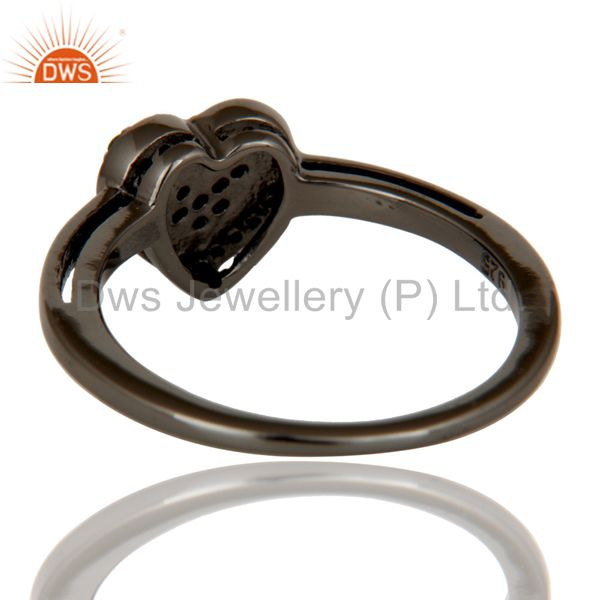 Wholesalers Tsavourite Heart Shape Love Ring Black Oxidized Sterling Silver Ring