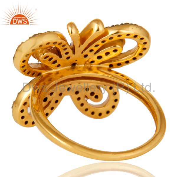 Wholesalers 18K Gold Plated Sterling Silver Diamond Butterfly Designer Ring