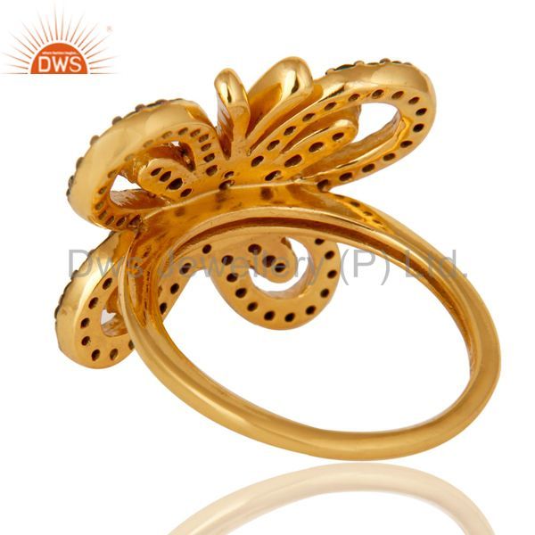 Wholesalers 18K Gold Plated Sterling Silver Tsavourite Butterfly Designer Ring