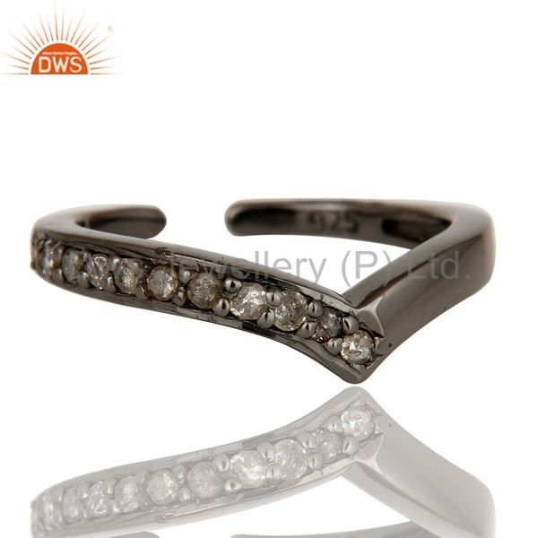 Wholesalers Oxidized Sterling Silver and Diamond Designer Midi Ring