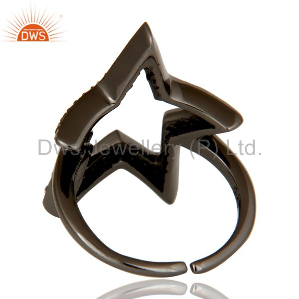 Wholesalers Black Oxidized Sterling Silver Diamond Rose Cut Designer Midi Ring Jewellery