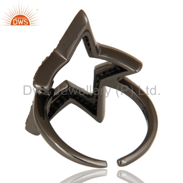 Wholesalers Black Oxidized 925 Sterling Silver Garnet Round Cut Designer Midi Ring Jewellery