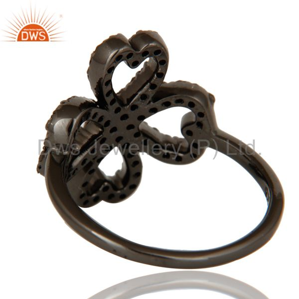 Wholesalers Pave Diamond Heart Design Oxidized Sterling Silver Ring