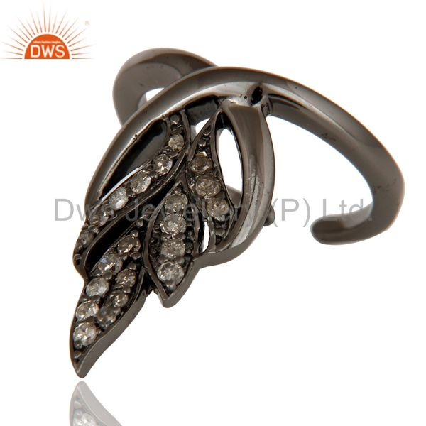 Wholesalers Black Oxidized Sterling Silver and Diamond Leaf Design Midi Ring