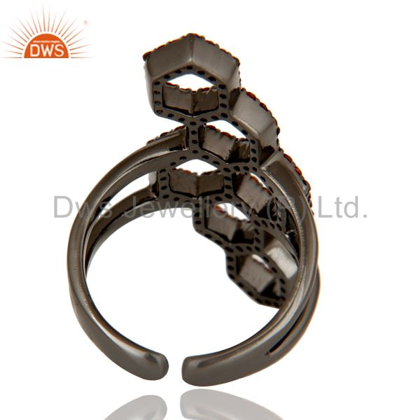Wholesalers Handmade Garnet Round Statement Midi Ring With Black Oxidized Sterling Silver