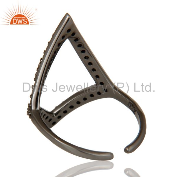 Wholesalers Diamond and Oxidized Sterling Silver Tringle Shape Midi Ring