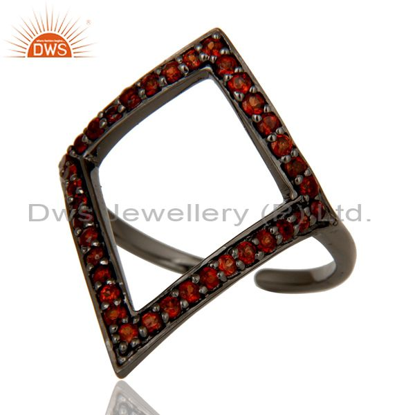 Wholesalers Garnet and Oxidized Sterling Silver Tringle Shape Midi Ring